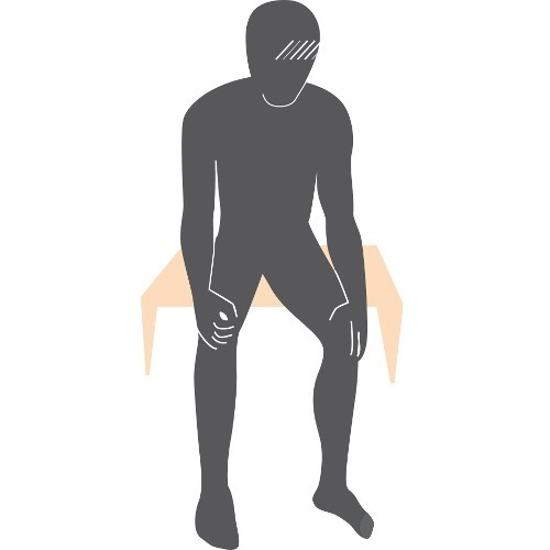illustration of a man sitting down and checking the front of his thighs, shins, tops of his feet, in between his toes and toenails