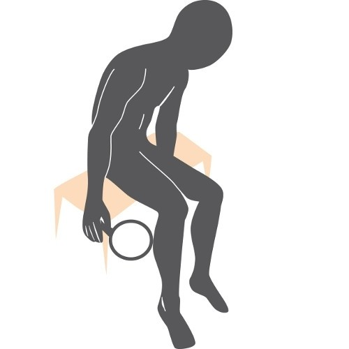 illustration of a man sitting and using a hand mirror to look at the bottoms of his feet, calves and backs of his thighs