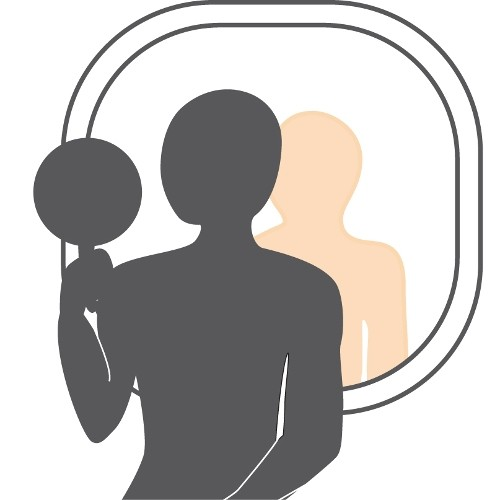 illustration of a man looking at his back in a wall mirror using a hand mirror
