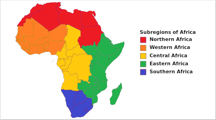graphic showing map of Africa with subregions in different colors